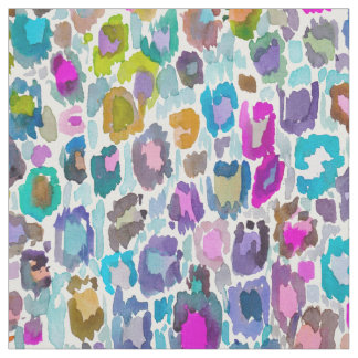 Colorful Abstract Watercolor Leopard Print Fabric