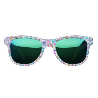 Colorful Abstract Watercolor Leopard Print Sunglasses