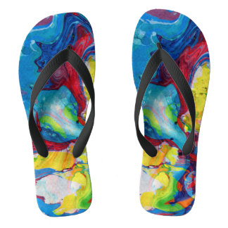 Colorful abstract wiled swirls flip flops