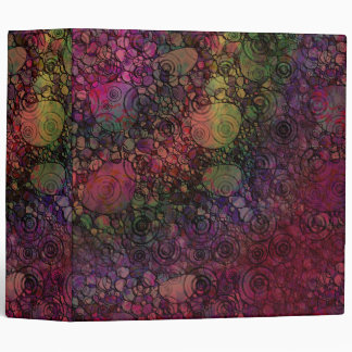 Colorful Abstract with Black & Grungy Circles Vinyl Binder