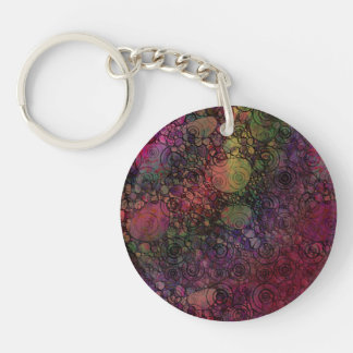 Colorful abstract with grungy circles Single-Sided round acrylic keychain