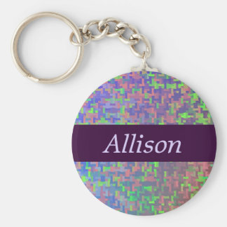 Colorful Abstract With Your Name Keychain