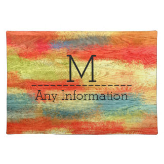 Colorful Abstract Wood Grain Texture Monogram Placemat