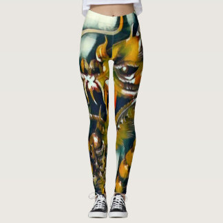 Colorful Acrylic Chinese Dragon Airbrush Yoga Leggings