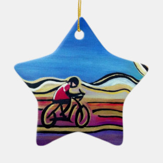 Colorful acrylic cyclist ceramic ornament