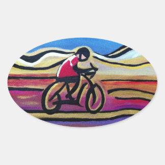 Colorful acrylic cyclist oval sticker