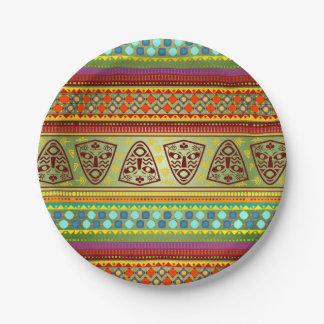 Colorful African Masks Stripe Kente Pattern Paper Plate