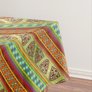 Colorful African Masks Stripe Kente Pattern Tablecloth