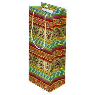 Colorful African Masks Stripe Kente Pattern Wine Gift Bag