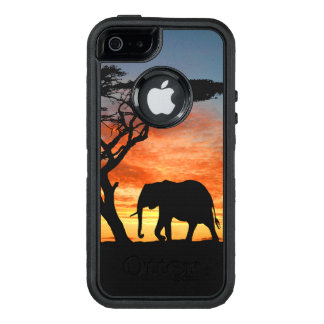 Colorful African Safari Sunset Elephant Silhouette OtterBox Defender iPhone Case