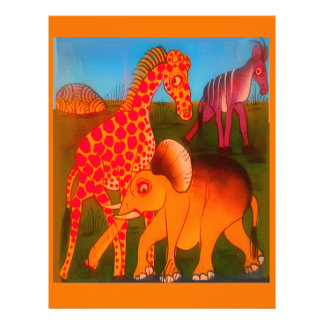 Colorful  African wild animal safari colors Custom Letterhead