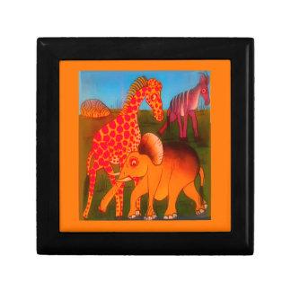 Colorful  African wild animal safari colors Keepsake Boxes