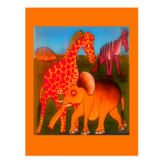 Colorful  African wild animal safari colors Postcard