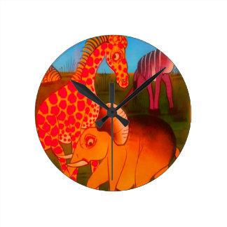 Colorful  African wild animal safari colors Wallclocks