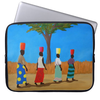 Colorful African Women Carrying Buckets Laptop Sleeve