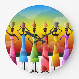 Colorful African Women with Vessels Large Clock