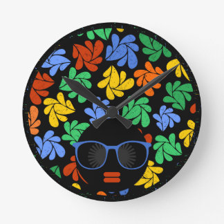 Colorful Afro Love Round Clock