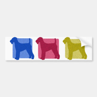 Colorful Airedale Terrier Silhouettes Bumper Sticker
