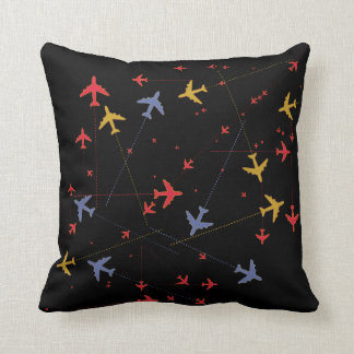 colorful airplanes on black (custom color) throw pillow