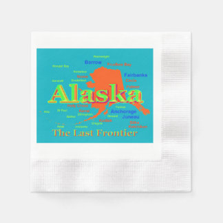 Colorful Alaska State Pride Map Silhouette Disposable Napkin