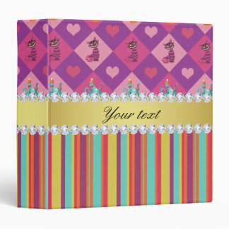 Colorful Alice in Wonderland and Stripes 3 Ring Binder