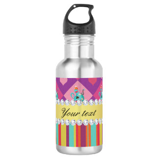 Colorful Alice in Wonderland and Stripes 532 Ml Water Bottle