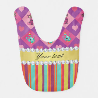 Colorful Alice in Wonderland and Stripes Bib