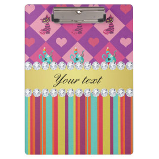 Colorful Alice in Wonderland and Stripes Clipboards