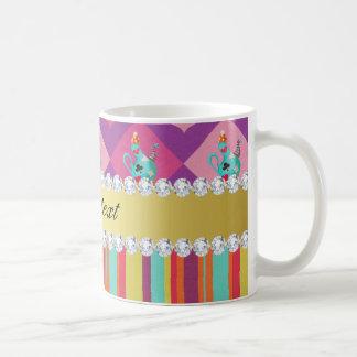 Colorful Alice in Wonderland and Stripes Coffee Mug