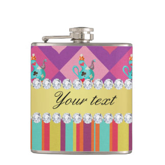 Colorful Alice in Wonderland and Stripes Hip Flask