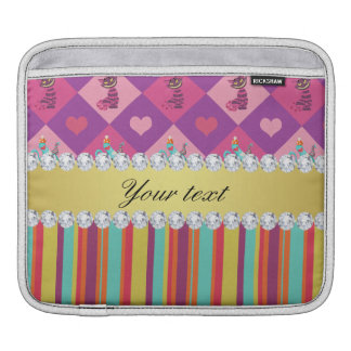 Colorful Alice in Wonderland and Stripes iPad Sleeve