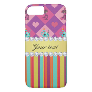 Colorful Alice in Wonderland and Stripes iPhone 8/7 Case
