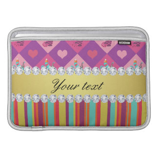 Colorful Alice in Wonderland and Stripes MacBook Sleeve