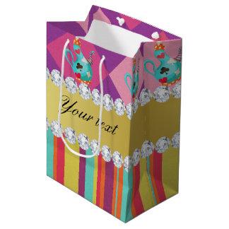 Colorful Alice in Wonderland and Stripes Medium Gift Bag