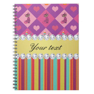 Colorful Alice in Wonderland and Stripes Notebook