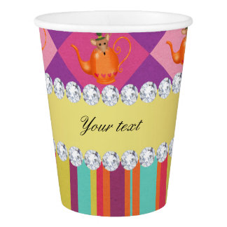 Colorful Alice in Wonderland and Stripes Paper Cup