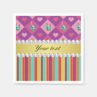 Colorful Alice in Wonderland and Stripes Paper Napkins