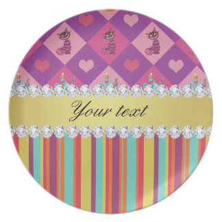 Colorful Alice in Wonderland and Stripes Plate