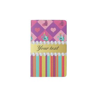 Colorful Alice in Wonderland and Stripes Pocket Moleskine Notebook