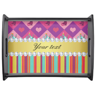 Colorful Alice in Wonderland and Stripes Serving Tray