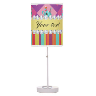 Colorful Alice in Wonderland and Stripes Table Lamp