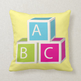 Colorful Alphabet blocks Throw Pillow