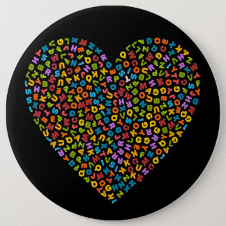 colorful alphabets within a heart 6 inch round button