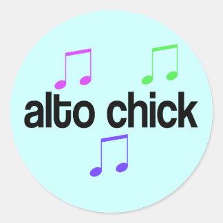 Colorful Alto Chick Classic Round Sticker