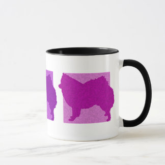 Colorful American Eskimo Dog Silhouettes Mug