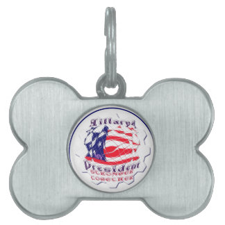 Colorful American Flag Colors Hillary for USA Pres Pet ID Tags