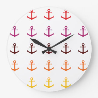 Colorful anchor pattern large clock
