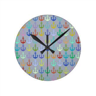 colorful anchor pattern navy design wall clocks