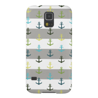 Colorful anchor pattern on stripy background galaxy s5 cases
