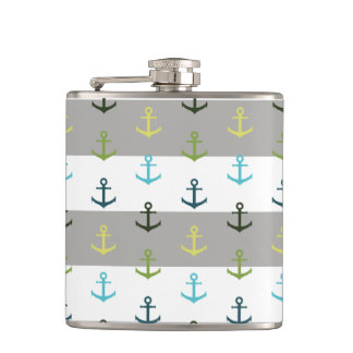 Colorful anchor pattern on stripy background hip flask